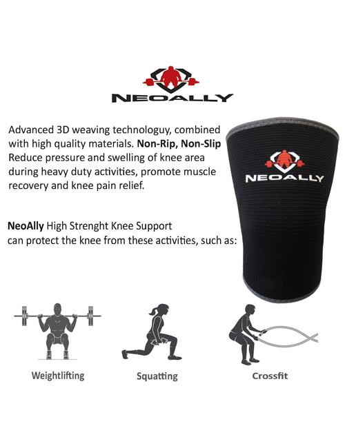 NeoAlly® High Strength Compression Knee Sleeves - No Rip, No Slip Design for CrossFit | NeoAllySports.com