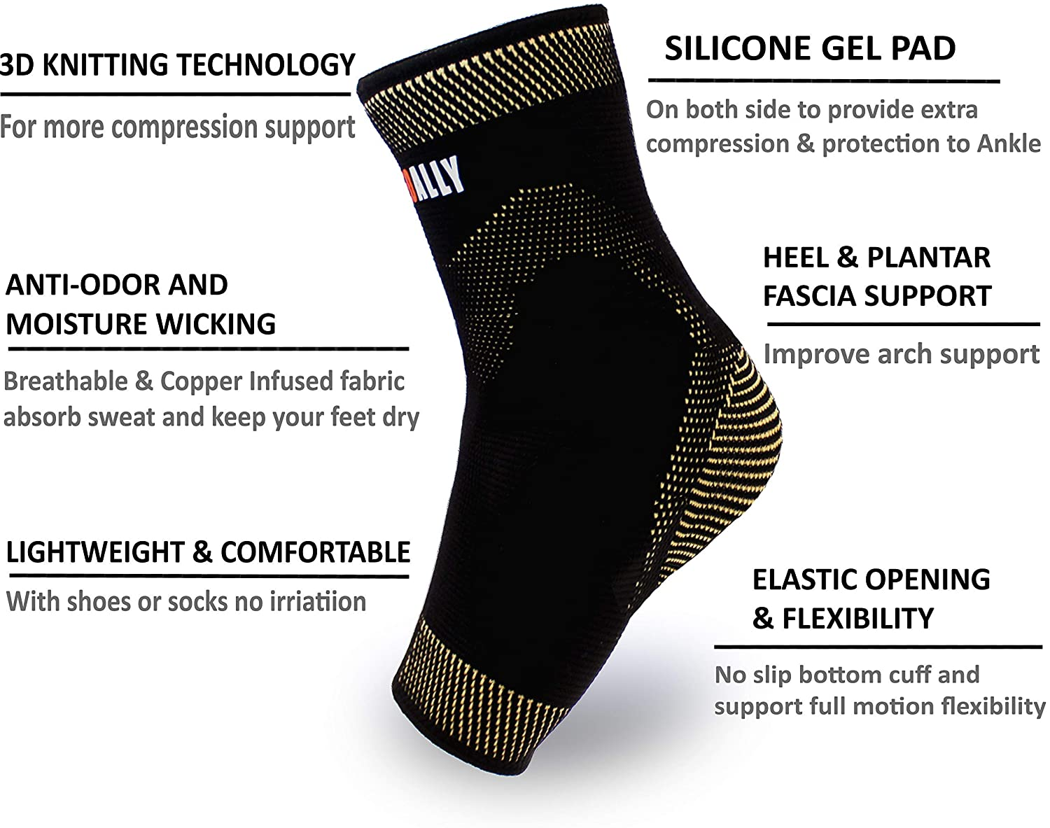 NeoAlly® Copper Gel-Padded Ankle Sleeves | Dual Gel Inserts for Additional Support | Premium Features | NeoAllySports.com