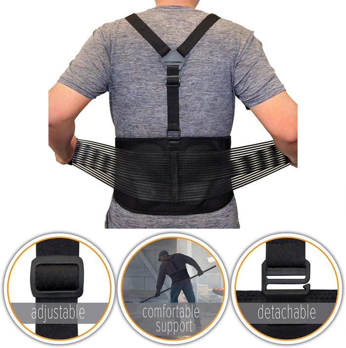 AllyFlex Sports® Lumbar Support Back Brace with Suspenders for Heavy Lifting | Adjustable, Detachable Straps for Custom Fit | NeoAllySports.com
