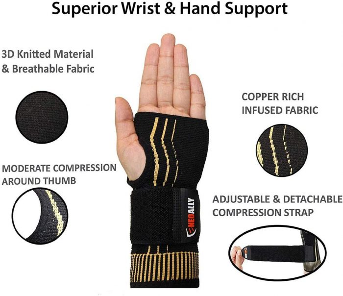 NeoAlly® Copper Wrist Support with Adjustable Strap for Custom Fit | Breathable Fabric for Comfort | NeoAllySports.com